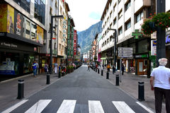Andorra la Vella shopping street. Andorra la Vella, the capital of the small state of Andorra. Andorra is situated in the east Pyrenees between France and Spain royalty free stock images