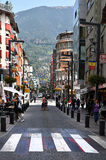 Andorra la Vella shopping street. Andorra la Vella, the capital of the small state of Andorra. Andorra is situated in the east Pyrenees between France and Spain royalty free stock photography