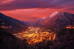 Andorra la Vella skyline at sunset Pyrenees. Andorra la Vella skyline at sunset in Pyrenees mountains royalty free stock photography