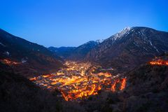 Andorra la Vella skyline at sunset Pyrenees. Andorra la Vella skyline at sunset in Pyrenees mountains royalty free stock image