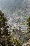 Andorra la vella view from a distance. Andorra la vella in the arms of the pyrenees royalty free stock images