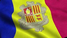 Andorra loopingu falowania Chorągwiana Bezszwowa animacja royalty ilustracja