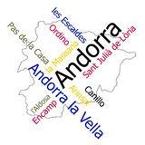 Andorra map and cities. Andorra map and words cloud with larger cities Royalty Free Stock Photography