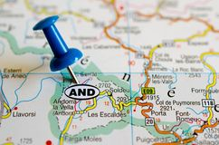 Andorra on map. Close up shot of Andorra on map with blue push pin Royalty Free Stock Photography