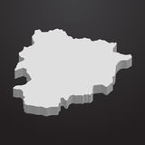 Andorra map in gray on a black background 3d Royalty Free Stock Photos