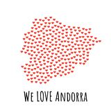 Andorra Map with red hearts - symbol of love. abstract background. Andorra Map with red hearts- symbol of love. abstract background with text We Love Andorra Royalty Free Stock Photo