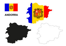 Andorra map vector, Andorra flag vector, isolated Andorra Stock Photo