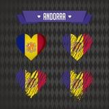 Andorra met liefde Ontwerpvector gebroken hart met binnen vlag stock illustratie