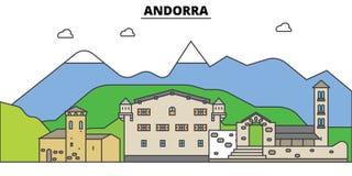 Andorra Miasto linia horyzontu, architektura, budynki, ulicy, sylwetka, krajobraz, panorama, punkty zwrotni Editable uderzenia Obrazy Stock