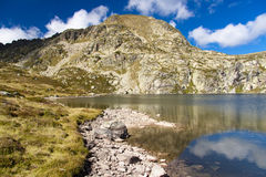 Andorra - Pedourres lake. Meadow and small lake - Pedourres in Andorra - Pyrenees Royalty Free Stock Photo