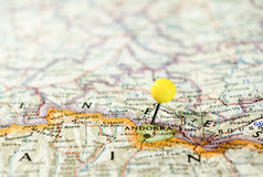 Andorra pinned on the route map Royalty Free Stock Image
