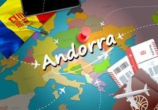 Andorra podróży pojęcia mapy tło z samolotami, bilety Visi royalty ilustracja