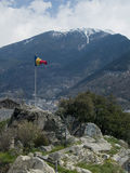 Andorra's flag. With the pyrinees in the background Stock Photos