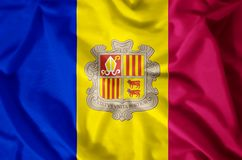 Andorra. Stylish waving and closeup flag illustration. Perfect for background or texture purposes vector illustration