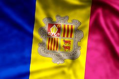 Andorra. Stylish waving and closeup flag illustration. Perfect for background or texture purposes stock illustration