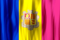 Andorra. Stylish waving and closeup flag illustration. Perfect for background or texture purposes royalty free illustration
