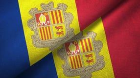 Andorra twee vlaggen textieldoek, stoffentextuur royalty-vrije illustratie