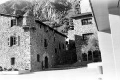 Andorra ulicy czarny i bia?y obrazy stock