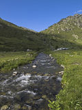 Andorra valley. River in Andorra valley, Pirineos Stock Photo