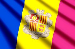 Andorra. Waving and closeup flag illustration. Perfect for background or texture purposes royalty free illustration