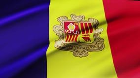 Andorra zaznacza falowanie w wiatrowego materiału filmowego Andorra flagi Realistycznym tle Andorra flagi loopingu zbliżenie ilustracja wektor