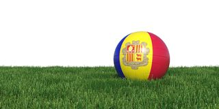 Andorran Andorra flag soccer ball lying in grass world cup 2018. Isolated on white background. 3D Rendering, Illustration Stock Photography