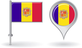 Andorran szpilki ikona i mapa pointeru flaga wektor Obrazy Stock