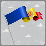 Andorran wavy flag. Vector illustration. Royalty Free Stock Image