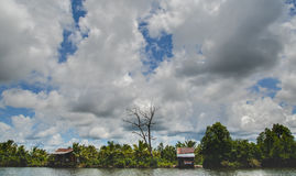 Andoung Tuek village, Cambodia- Homes on stilts hanging on the edge of Preak Piphot river Royalty Free Stock Photos