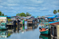 Andoung Tuek village, Cambodia- Homes on stilts hanging on the edge of Preak Piphot river Royalty Free Stock Photography