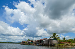 Andoung Tuek village, Cambodia- Homes on stilts hanging on the edge of Preak Piphot river Royalty Free Stock Photo