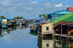 Andoung Tuek village, Cambodia- Homes on stilts hanging on the edge of Preak Piphot river Stock Image