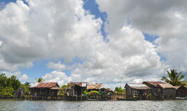 Andoung Tuek village, Cambodia- Homes on stilts hanging on the edge of Preak Piphot river Royalty Free Stock Images