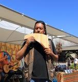 Andrés莫拉莱斯维加-平底锅长笛音乐家 免版税库存照片