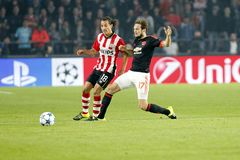 Andrés Guardado PSV Eindhoven and Daley Blind Manchester United Royalty Free Stock Images