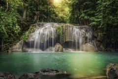 Andra nivå av den Erawan vattenfallet Royaltyfria Bilder