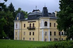 Andrassy chateau Betliar. In Slovakia and english park stock images