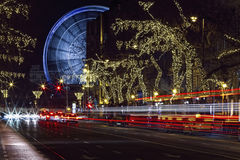 Andrassy road and the Budapest Eye. Budapest, Hungary - Budapest Eye is the new attraction of the city stock photography