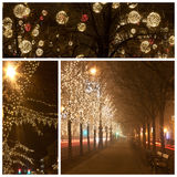 Andrassy way at christmastime. Decorated street at christmastime in Budapest royalty free stock images