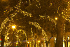 Andrassy way at christmastime. Decorated street at christmastime in Budapest stock image