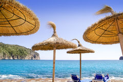 Andratx Port de Mar beach with sunroof umbrellas Stock Image