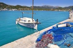 Andratx port marina in Mallorca balearic islands. Andratx port marina with llaut boat in Mallorca balearic islands Stock Images