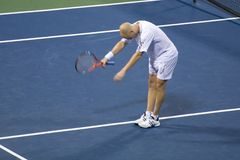 Andre Agassie Bowing. 7-27-06 Los Angeles Countrywide Classic Tennis Tournament.  Andre Agassi bowing to the audience after defeating George Bastl Stock Photo