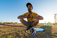 Andre antunes Slackline performance Stock Photography