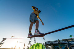 Andre antunes Slackline performance Royalty Free Stock Images