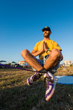 Andre antunes Slackline performance Stock Photo