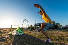 Andre antunes Slackline performance Royalty Free Stock Photo