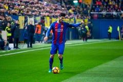 Andre Gomes-spelen bij de gelijke van La Liga tussen Villarreal CF en FC Barcelona bij de Madrigaalstadion van Gr Royalty-vrije Stock Foto's