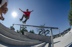 Andre Pereira on a FS Nose Grind Royalty Free Stock Images