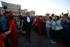 Andre Rieu. Dutch violinist and conductor Andre Leon Marie Nicolas Rieu and the Johann Strauss Orchestra, in concert, in Bucharest, Romania, May 6, 2015 Stock Photo